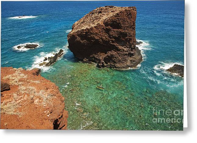 Ledge Photographs Greeting Cards - Overlooking Puu Pehe III Greeting Card by Ron Dahlquist - Printscapes
