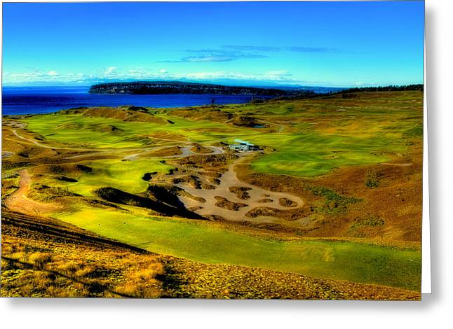 Us Open Greeting Cards - Overlooking the Chambers Bay Golf Course Greeting Card by David Patterson