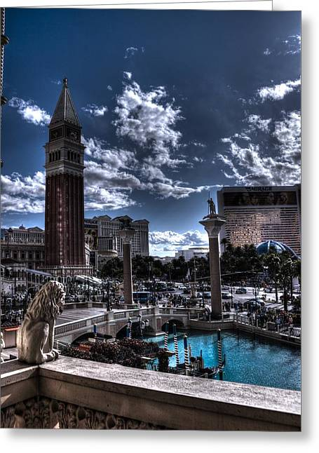 Overlooking The Strip Greeting Card by DayDream Images by Nancy Tsuzaki