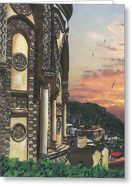 Italian Sunset Mixed Media Greeting Cards - Overlooking the Village Greeting Card by Piromalli Pozzuto