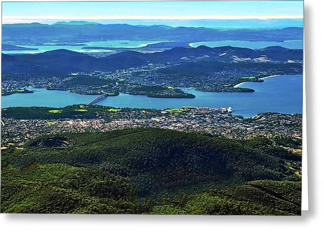 Kirsten Giving Greeting Cards - Overview of Hobart Tasmania Greeting Card by Kirsten Giving