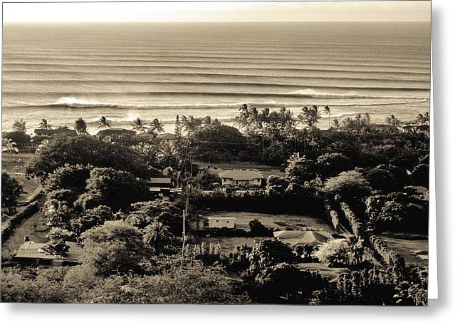 Greeting Cards - overview of Sunset Beach, from Comsat Hill, north shore, Oahu Greeting Card by Sean Davey