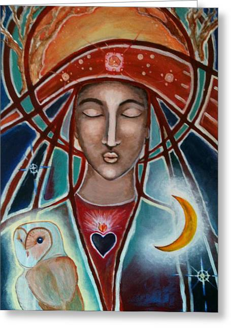 Owl And Goddess Greeting Card by Lakshmi Light