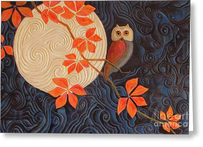 Owl And Moon On A Quilt Greeting Card by Nancy Lee Moran
