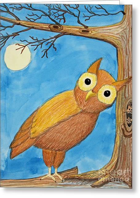 Appleton Paintings Greeting Cards - Owl and Moonlight Greeting Card by Norma Appleton