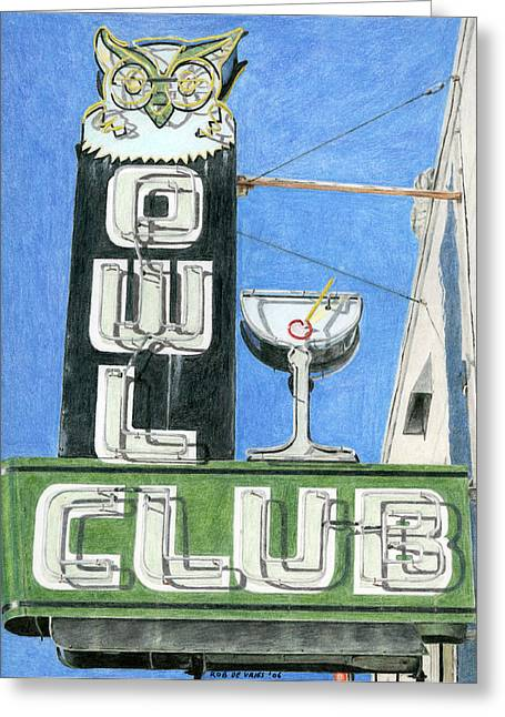 Photorealism Drawings Greeting Cards - Owl Club Greeting Card by Rob De Vries