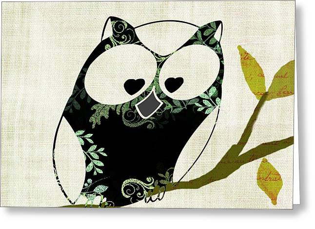 Twirling Greeting Cards - Owl Design - 23a Greeting Card by Variance Collections
