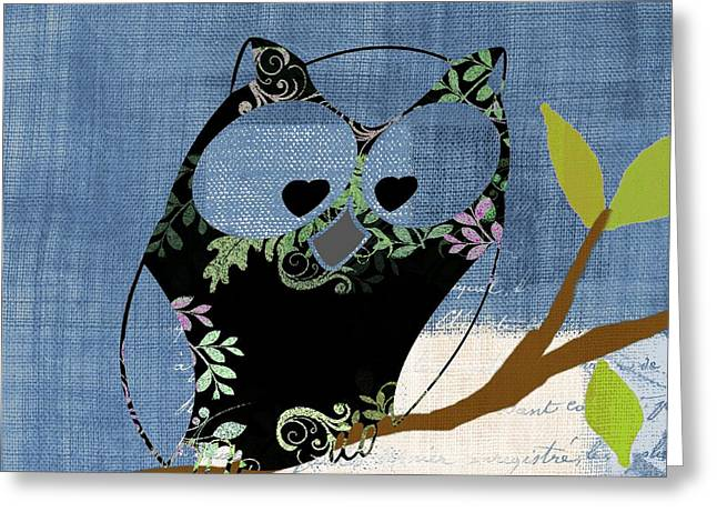 Decor Series Greeting Cards - Owl Design - j140149146-v136bb Greeting Card by Variance Collections
