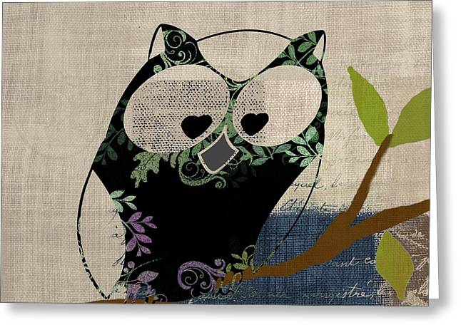 Owl Decor Greeting Cards - Owl Design - j140149146-v19 Greeting Card by Variance Collections
