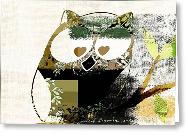 Off-white Greeting Cards - Owl Design - j164049167-v03 Greeting Card by Variance Collections