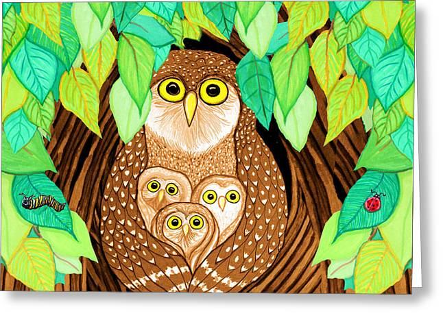Catapillars Greeting Cards - Owl Family Tree Greeting Card by Nick Gustafson