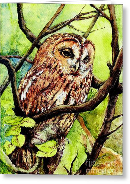 Owl From Butterfingers And Secrets Greeting Card by Morgan Fitzsimons