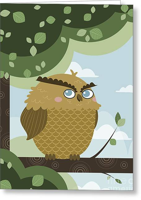 Mascots Paintings Greeting Cards - Owl in a branch Greeting Card by Pablo Romero