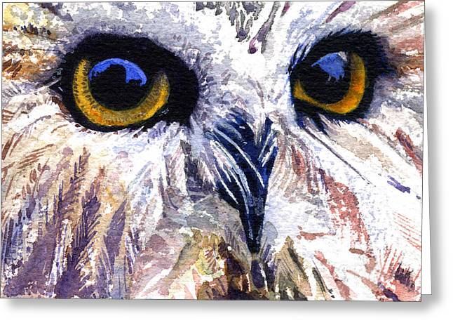 Owl Greeting Card by John D Benson