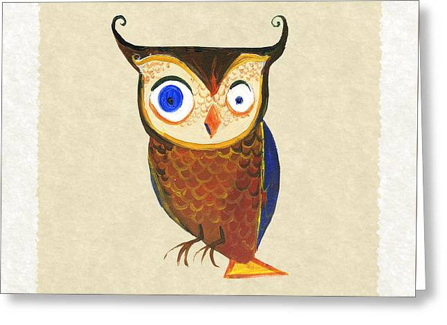 Owl Greeting Card by Kristina Vardazaryan