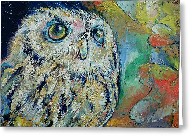Owl Greeting Card by Michael Creese
