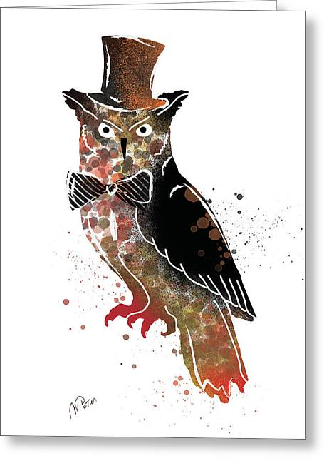 Round Greeting Cards - Owl Greeting Card by Mihaela Pater