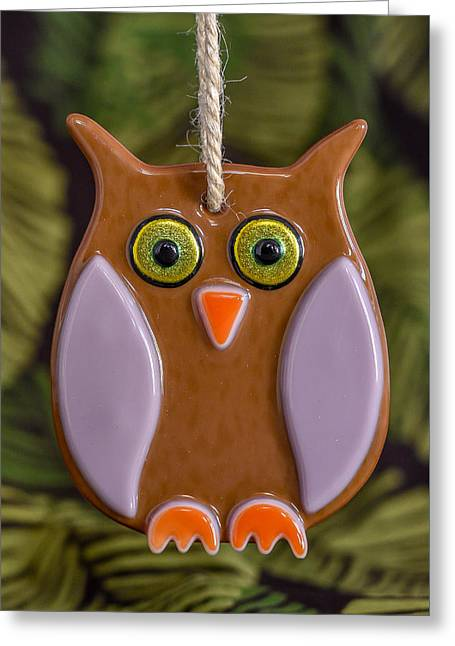 Owls Glass Greeting Cards - Owl Ornament Greeting Card by Tamera Wohlever