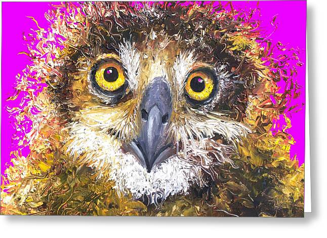 Owl Painting On Purple Background Greeting Card by Jan Matson