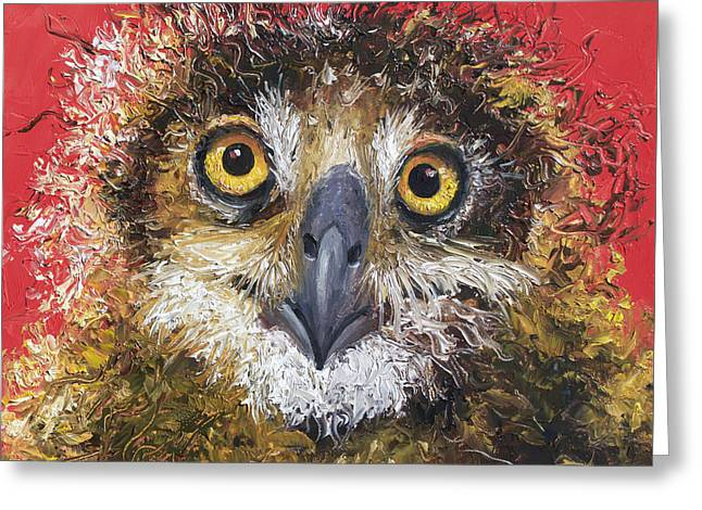 Owl Painting On Red Background Greeting Card by Jan Matson