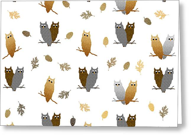 Pairs Mixed Media Greeting Cards - Owl Pattern Greeting Card by Christina Rollo