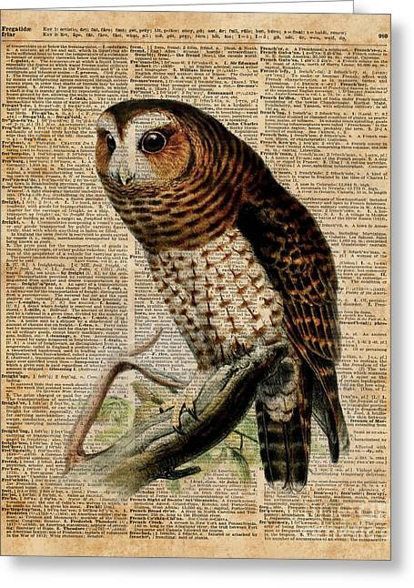 Owl Vintage Illustration Over Old Encyclopedia Page Greeting Card by Jacob Kuch