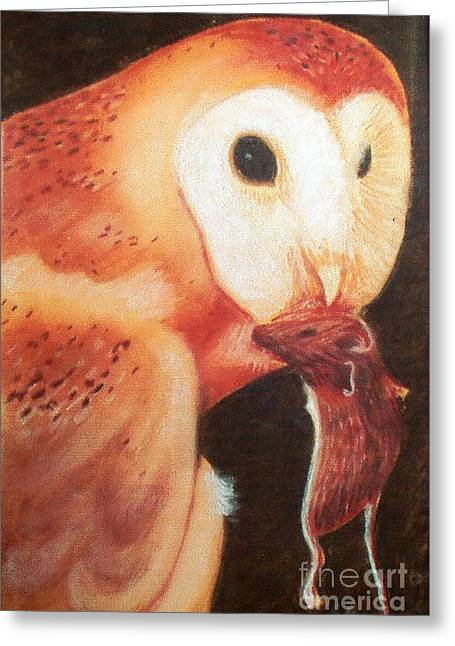 Mouse Pastels Greeting Cards - Owls dinner Greeting Card by Stephen Brooks