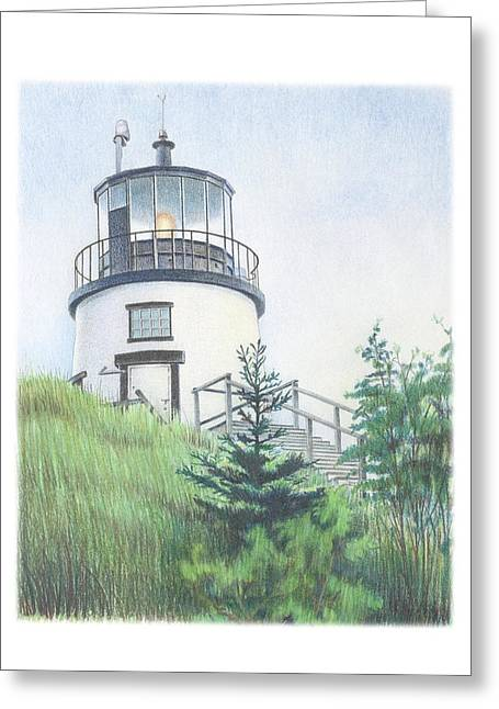 Maine Landscape Drawings Greeting Cards - Owls Head Light Greeting Card by Todd Baxter