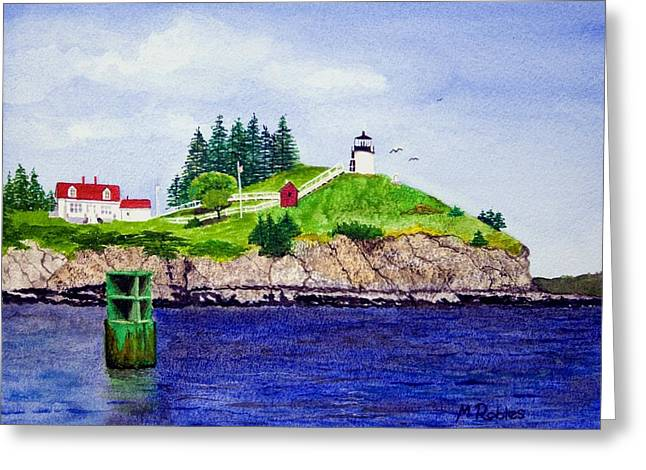 Maine Lighthouses Paintings Greeting Cards - Owls Head Lighthouse Greeting Card by Mike Robles