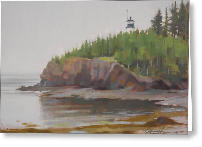 Maine Lighthouses Paintings Greeting Cards - Owls Head Greeting Card by Todd Baxter
