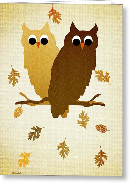 Browns And Golds Greeting Cards - Owls Pattern Aged Greeting Card by Christina Rollo