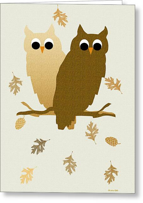 Pine Cones Mixed Media Greeting Cards - Owls Pattern Art Greeting Card by Christina Rollo