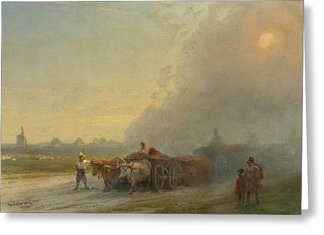 Ox-carts In The Ukrainian Steppe Greeting Card by Ivan Aivazovsky