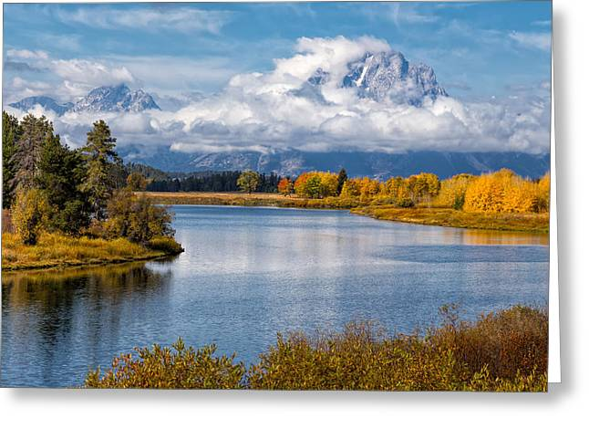 Bishops Peak Greeting Cards - Oxbow Bend Greeting Card by Kathleen Bishop