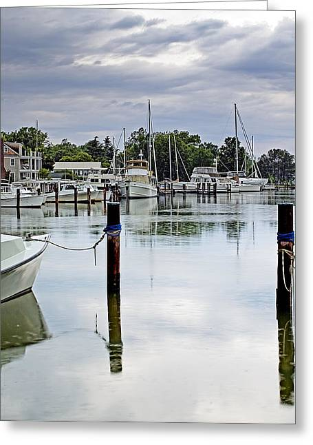 Docked Sailboats Photographs Greeting Cards - Oxford CIty Dock Eastern Shore of Maryland Greeting Card by Brendan Reals
