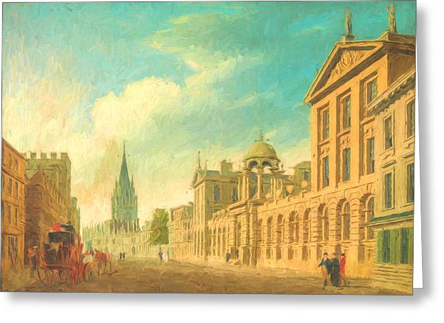 Europe Mixed Media Greeting Cards - Oxford High Street 2 Greeting Card by Roy Pedersen