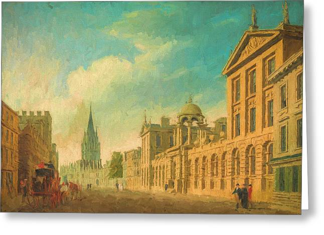 Europe Mixed Media Greeting Cards - Oxford High Street Greeting Card by Roy Pedersen