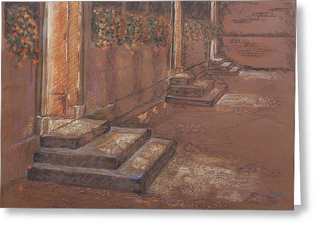 Lighting Pastels Greeting Cards - Oxford Stairs Greeting Card by Marina Garrison