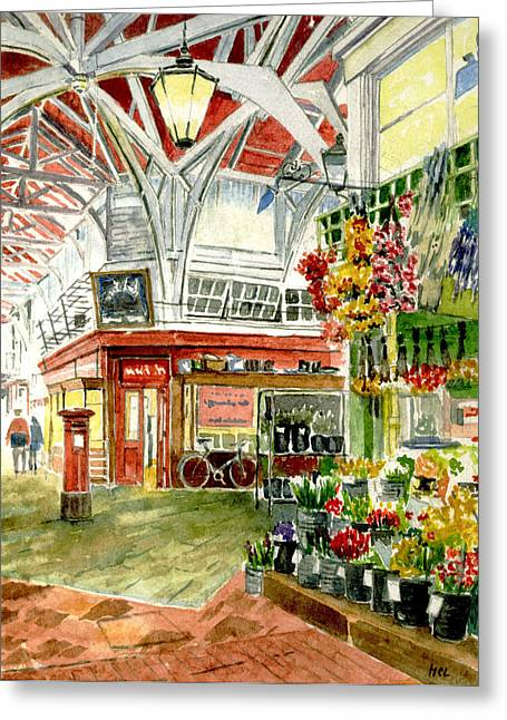 Fishmongers Greeting Cards - Oxfords Covered Market Greeting Card by Mike Lester