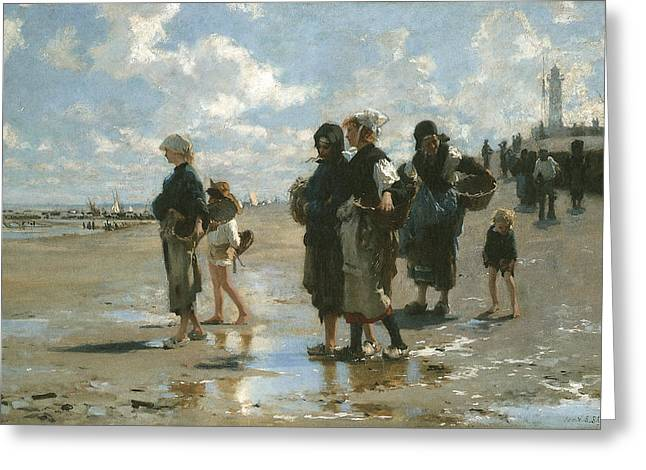 Sea Going Greeting Cards - Oyster Gatherers at Cancale Greeting Card by John Singer sargent
