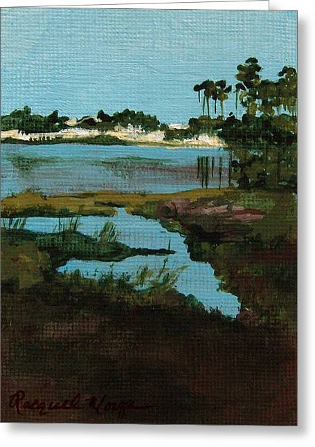 Florida Panhandle Paintings Greeting Cards - Oyster Lake Greeting Card by Racquel Morgan