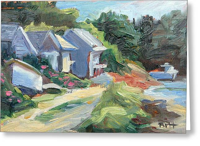 Chatham Paintings Greeting Cards - Oyster River Shacks Greeting Card by Barbara Hageman