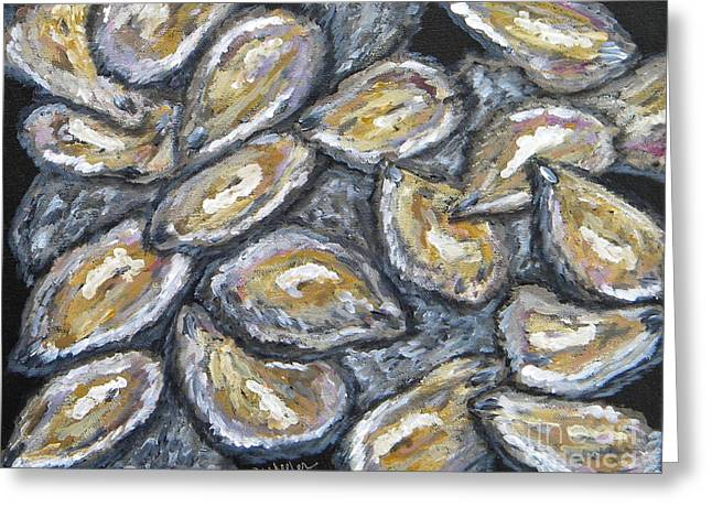 Oysters Greeting Cards - Oyster Stack Greeting Card by JoAnn Wheeler
