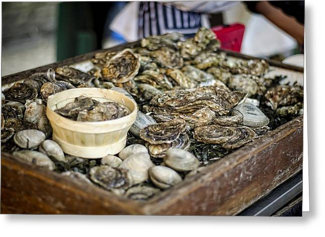 Raw Oyster Greeting Cards - Oysters at the Market Greeting Card by Heather Applegate