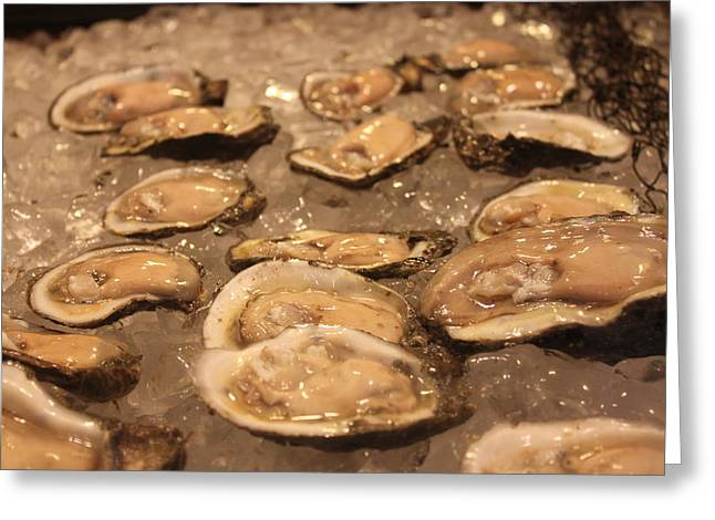 Half Shell Greeting Cards - Oysters Greeting Card by Lauri Novak