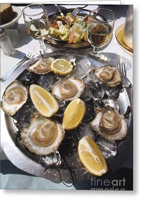 Raw Oyster Greeting Cards - Oysters on the Half Shell Greeting Card by Erik Falkensteen