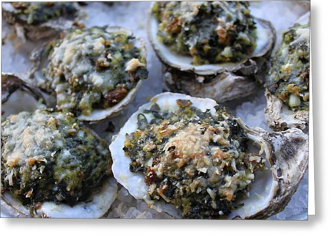 Half Shell Greeting Cards - Oysters Rockefeller Greeting Card by Angie Wingerd