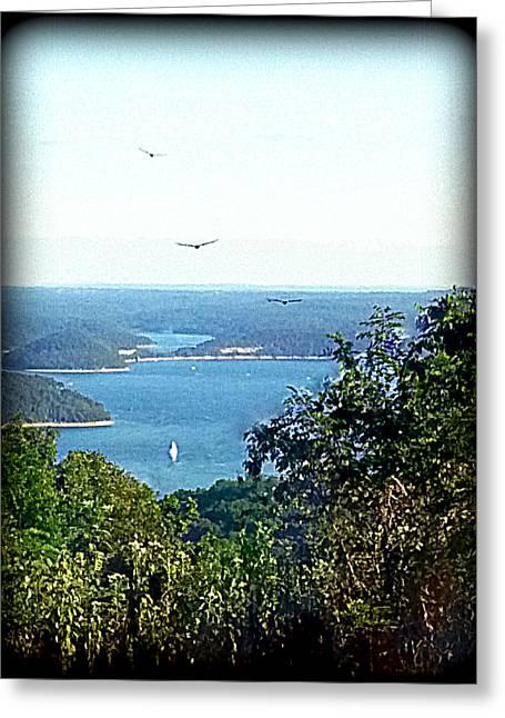 Ozark Mountain Sail Greeting Card by Lesli Sherwin