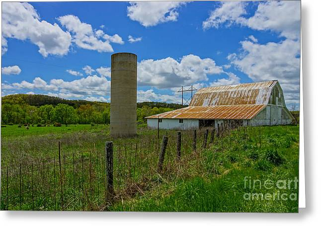 Old Barns Greeting Cards - Ozarks Old Barn and Silo Greeting Card by Jennifer White