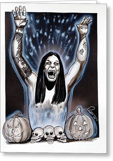 Crazy Drawings Greeting Cards - Ozzies Halloween Greeting Card by Dave Olsen